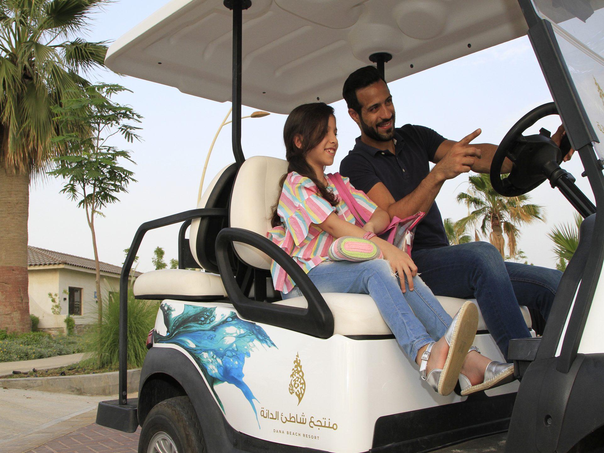 driving club cars around Dana Beach Resort